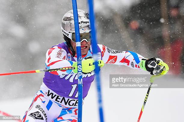 Julien Lizeroux of France competes during the Audi FIS Alpine Ski World Cup Men's Slalom on January 17 2016 in Wengen Switzerland