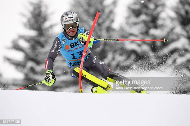 Julien Lizeroux of France competes during the Audi FIS Alpine Ski World Cup Men's Slalom on January 15 2017 in Wengen Switzerland