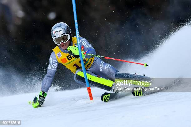 Julien Lizeroux of France competes during the Audi FIS Alpine Ski World Cup Men's Slalom on January 14 2018 in Wengen Switzerland