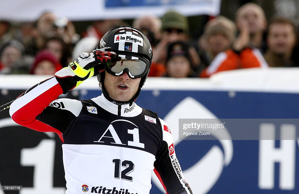 Julien Lizeroux of France takes 4th place during the Alpine FIS Ski World Cup Men's Slalom on January 20, 2008 in Kitzbuehel, Austria.