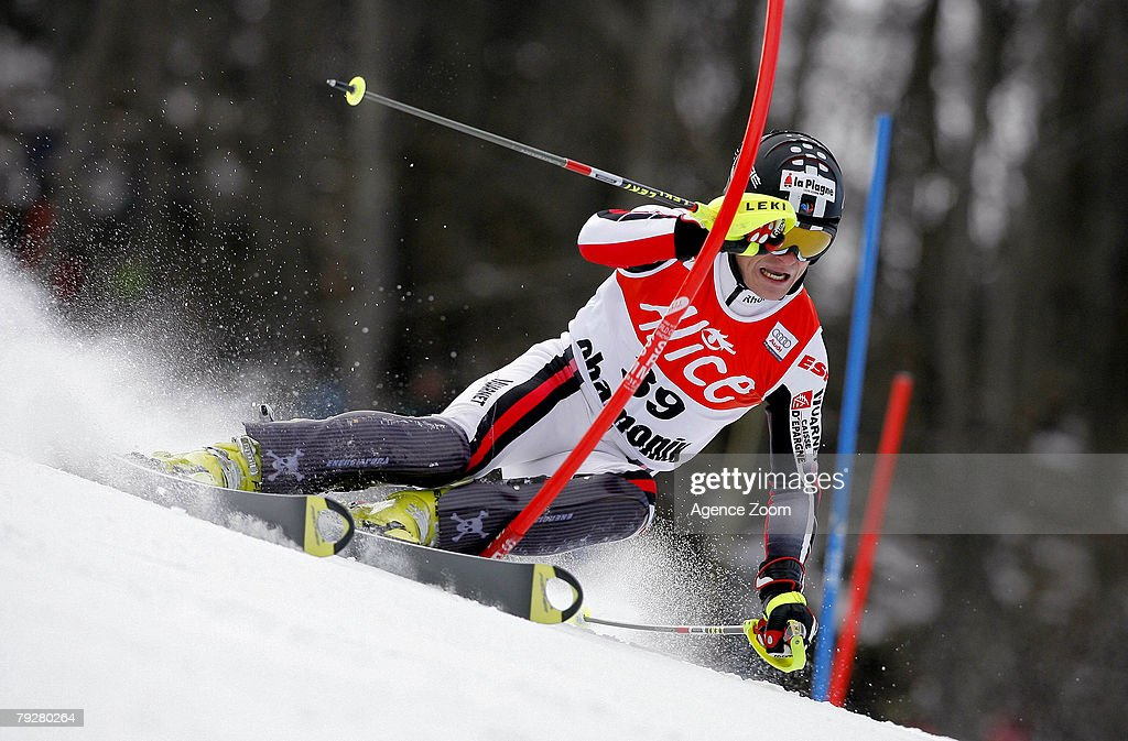 Julien Lizeroux of France takes 5th place during the FIS Alpine ski World cup World Cup Men's Super Combined Downhill event on January 27, 2008 in Chamonix, France.
