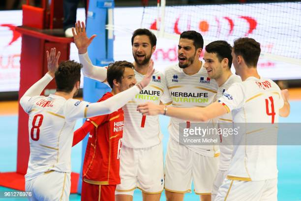 Julien Lyneel Jeremie Mouiel Kevin Tillie Jonas Aguenier Antoine Brizard and Jean Patry of France during the Volleyball Men's Nations League match...