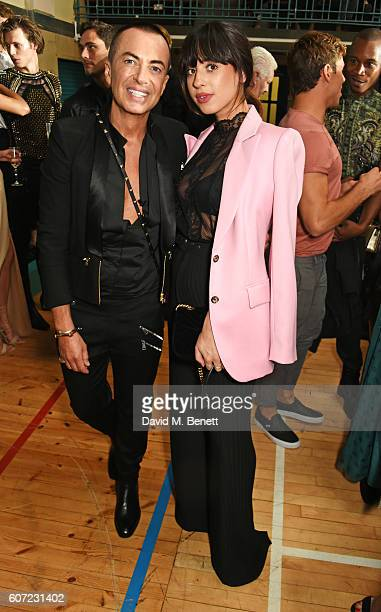 Julien Macdonald and Foxes attend the Julien Macdonald runway show during London Fashion Week Spring/Summer collections 2017 on September 17, 2016 in...