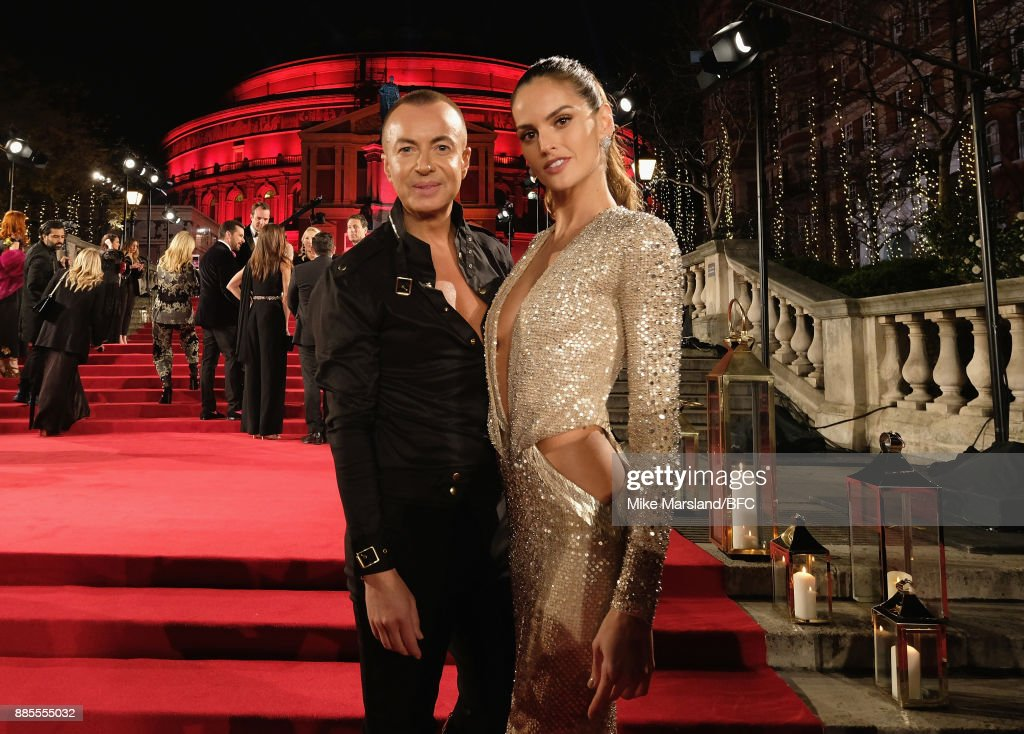 Julien Macdonald and Izabel Goulart attend The Fashion Awards 2017 in partnership with Swarovski at Royal Albert Hall on December 4, 2017 in London, England.