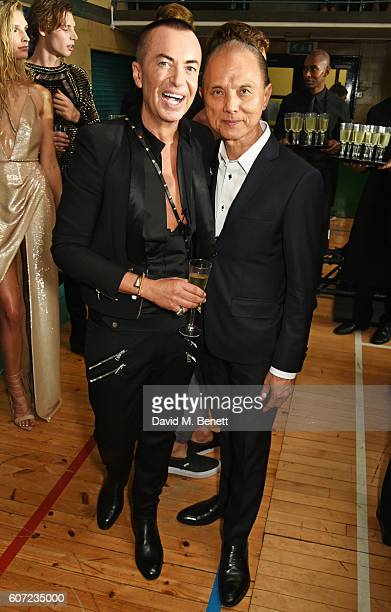 Julien Macdonald and Jimmy Choo attend the Julien Macdonald runway show during London Fashion Week Spring/Summer collections 2017 on September 17,...
