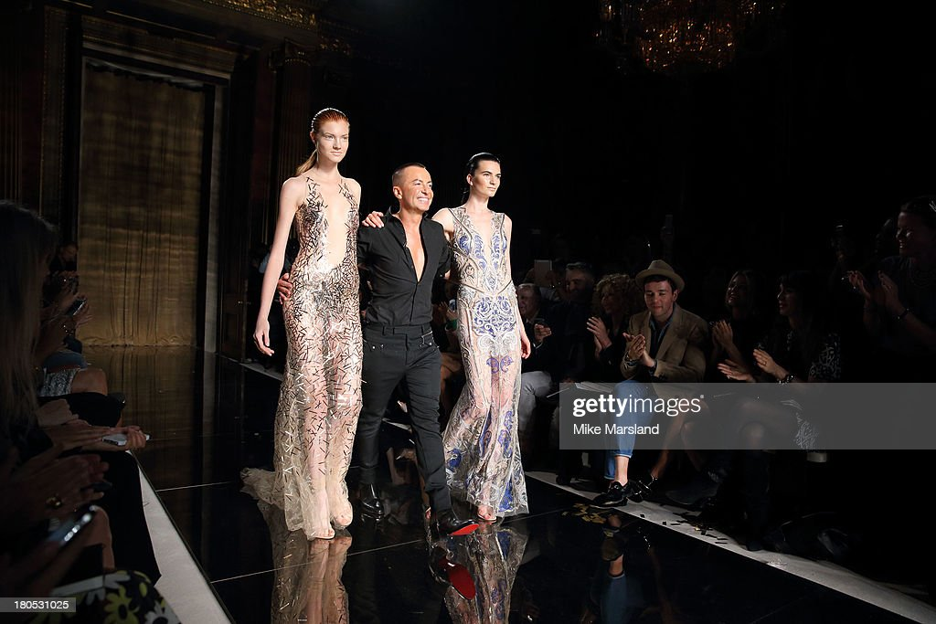 Julien Macdonald and models walk the runway at the Julien Macdonald show during London Fashion Week SS14 on September 14, 2013 in London, England.