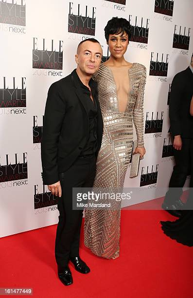 Julien Macdonald and Zawe Ashton attend the Elle Style Awards 2013 at The Savoy Hotel on February 11 2013 in London England