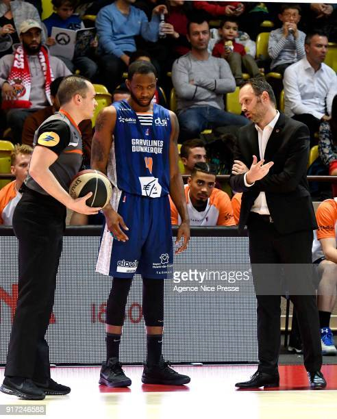 Julien Mahe coach of Gravelines and Chris Johnson of Gravelines during the Pro A match between Monaco and Gravelines Dunkerque on February 11 2018 in...