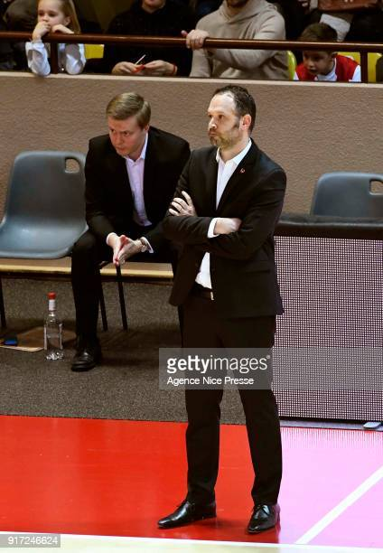 Julien Mahe coach of Gravelines and his assistant Lassi Tuovi during the Pro A match between Monaco and Gravelines Dunkerque on February 11 2018 in...