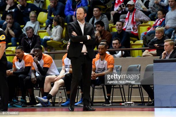Julien Mahe coach of Gravelines during the Pro A match between Monaco and Gravelines Dunkerque on February 11 2018 in Monaco Monaco