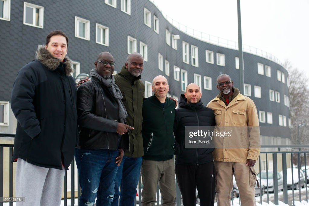 Julien Martin head coach, Bouna Ndiaye, Abdoulaye NDiaye, president of Grigny Ali Ghedjati, Dimitri Huet and Aziz Ndiaye pose during come to explain the project younus at Grigny, France on 7th February 2018