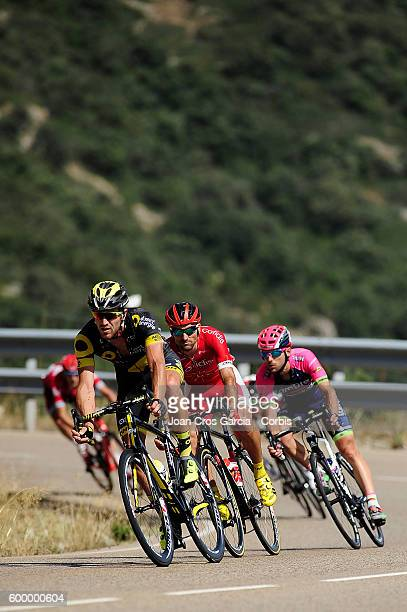 Julien Morice from Direct Energie Angel Mate Mardones from Cofidis Team and Jorge Faria da Costa from Lampre Merida during the 16th stage of La...