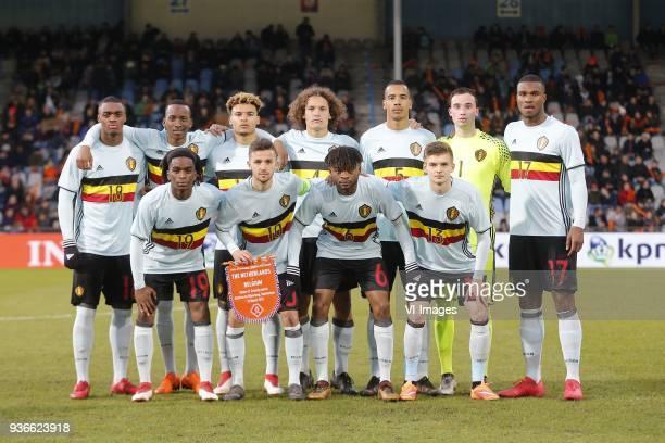 Julien Ngoy of Jong Belgium Dodi Lukebakio Ngandoli of Jong Belgium Samy Mmaee A Nwambeben of Jong Belgium Wout Faes of Jong Belgium Senna Miangue of...