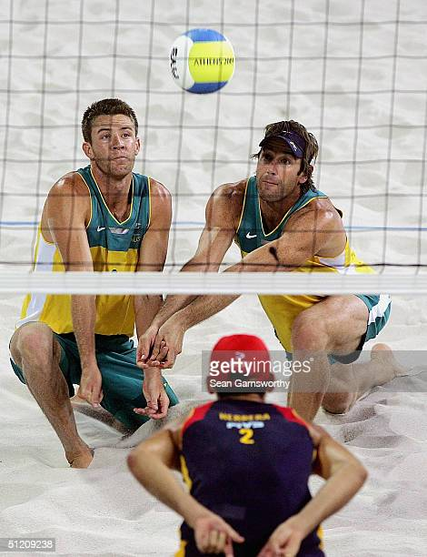 Julien Prosser and Mark Williams for Australia in action during the men's semifinal match Between Australia and Spain on August 23, 2004 during the...