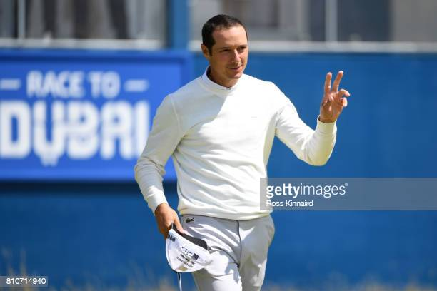 Julien Quesne of France celebrates a birdie on the 18th green during day three of the Dubai Duty Free Irish Open at Portstewart Golf Club on July 8...