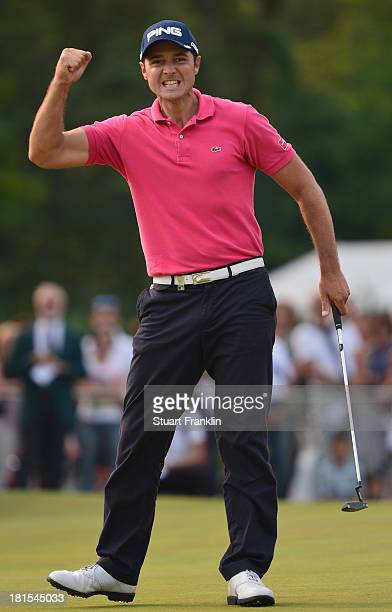 Julien Quesne of France celebrates winning on the 18th hole during the final round of the Italian Open golf at Circolo Golf Torino on September 22...