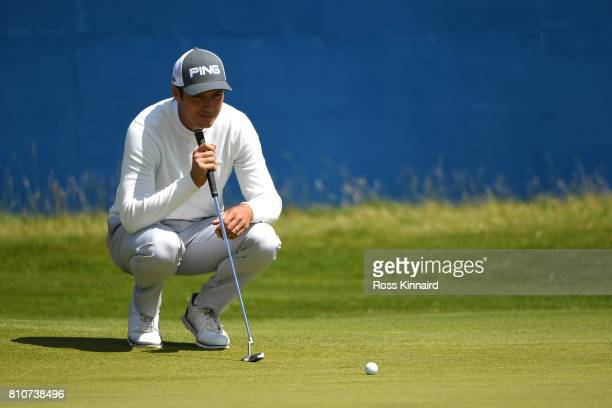 Julien Quesne of France lines up on the 18th green during day three of the Dubai Duty Free Irish Open at Portstewart Golf Club on July 8 2017 in...