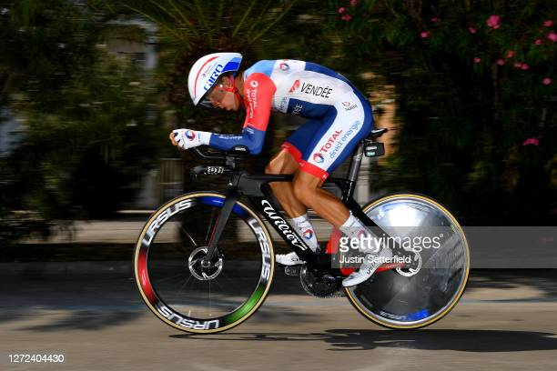 Julien Simon of France and Team Total Direct Energie / during the 55th TirrenoAdriatico 2020 Stage 8 a 101km Individual Time Trial in San Benedetto...