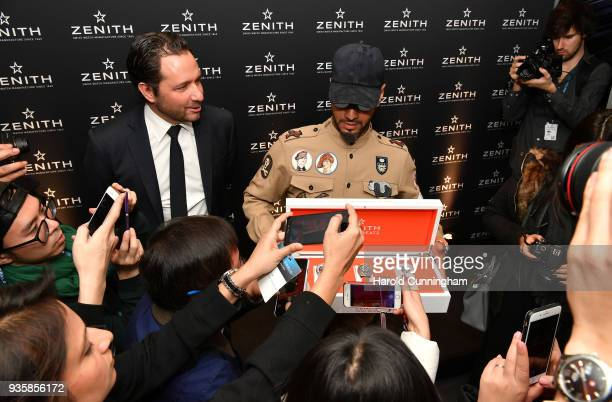 Julien Tornare CEO of Zenith and Swizz Beatz attend the Zenith press conference at the Baselworld luxury watch trade fair 2018 on March 21 2018 in...