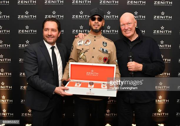 Julien Tornare CEO of Zenith Swizz Beatz and JeanClaude Biver president of LVMH watch division attend the Zenith press conference at the Baselworld...