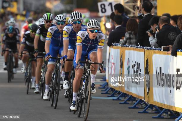 Julien VERMOTE and Quick Step Doors Team lead the peloton during the 589km Main Race during the 5th edition of TDF Saitama Criterium 2017 On Saturday...
