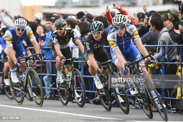 Julien VERMOTE leads ahead of Michal KWIATKOWSKI Mark CAVENDISH and Marcel KITTEL during 589km Main Race of the 5th edition of TDF Saitama Criterium...