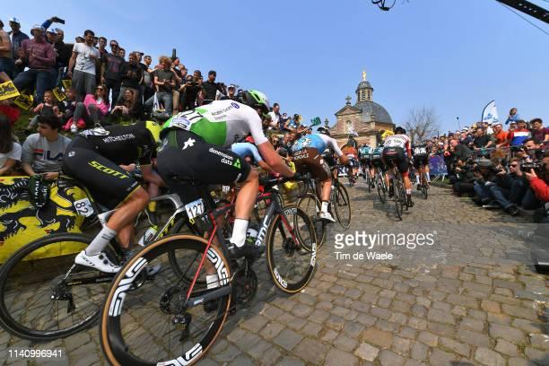 Julien Vermote of Belgium and Team Dimension Data / Edoardo Affini of Italy and Team MitcheltonScott / De Muur van Geraardsbergen / Cobblestones /...