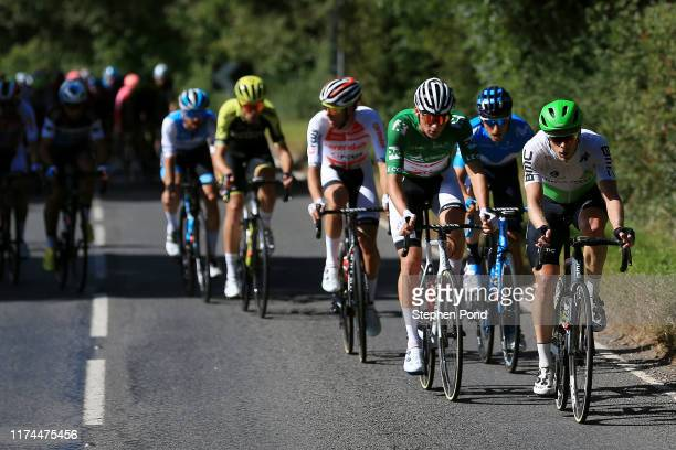 Julien Vermote of Belgium and Team Dimension Data / Mathieu van der Poel of The Netherlands and Corendon _ Circus Cycling Team Green Leader Jersey /...