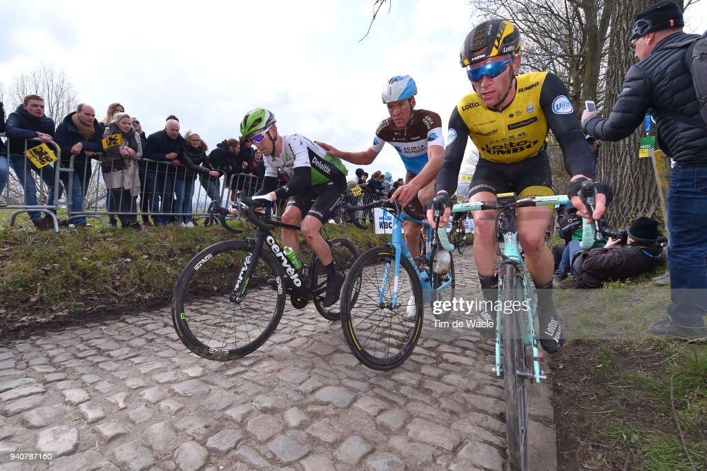 Julien Vermote of Belgium and Team Dimension Data / Stijn Vandenbergh of Belgium and Team AG2R La Mondiale / Jos Van Emden of The Netherlands and Team LottoNL - Jumbo / Koppenberg / during the 102nd Tour of Flanders 2018 - Ronde Van Vlaanderen a 264,7km race from Antwerpen to Oudenaarde on April 1, 2018 in Oudenaarde, Belgium.