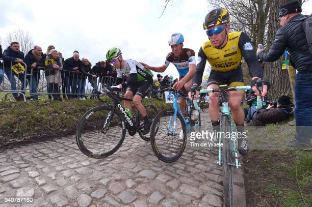 Julien Vermote of Belgium and Team Dimension Data / Stijn Vandenbergh of Belgium and Team AG2R La Mondiale / Jos Van Emden of The Netherlands and...