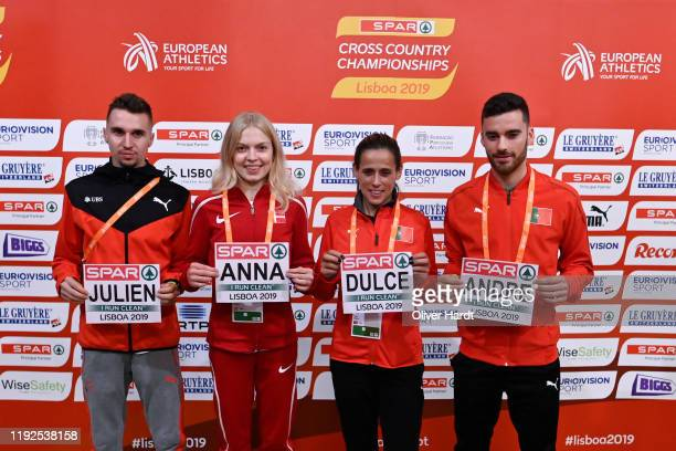 Julien Wanders of Switzerland Anna Emilie Moller of Denmark Ana Dulce Felix of Portugal and Andre Pereira of Portugal pose for the photocall after...