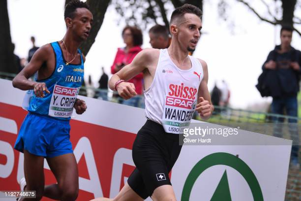 Julien Wanders of Switzerland compete during the Senior Men's race of the SPAR European Cross Country Championships at the Parque da Bela Vista on...