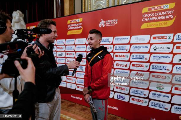 Julien Wanders of Switzerland speak during a press conference ahead of the European Cross Country at the Pacos do Concelho Lisbon Town Hall on...