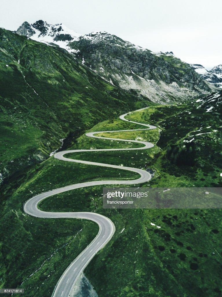 julier pass road in switzerland in autumn : Stock Photo