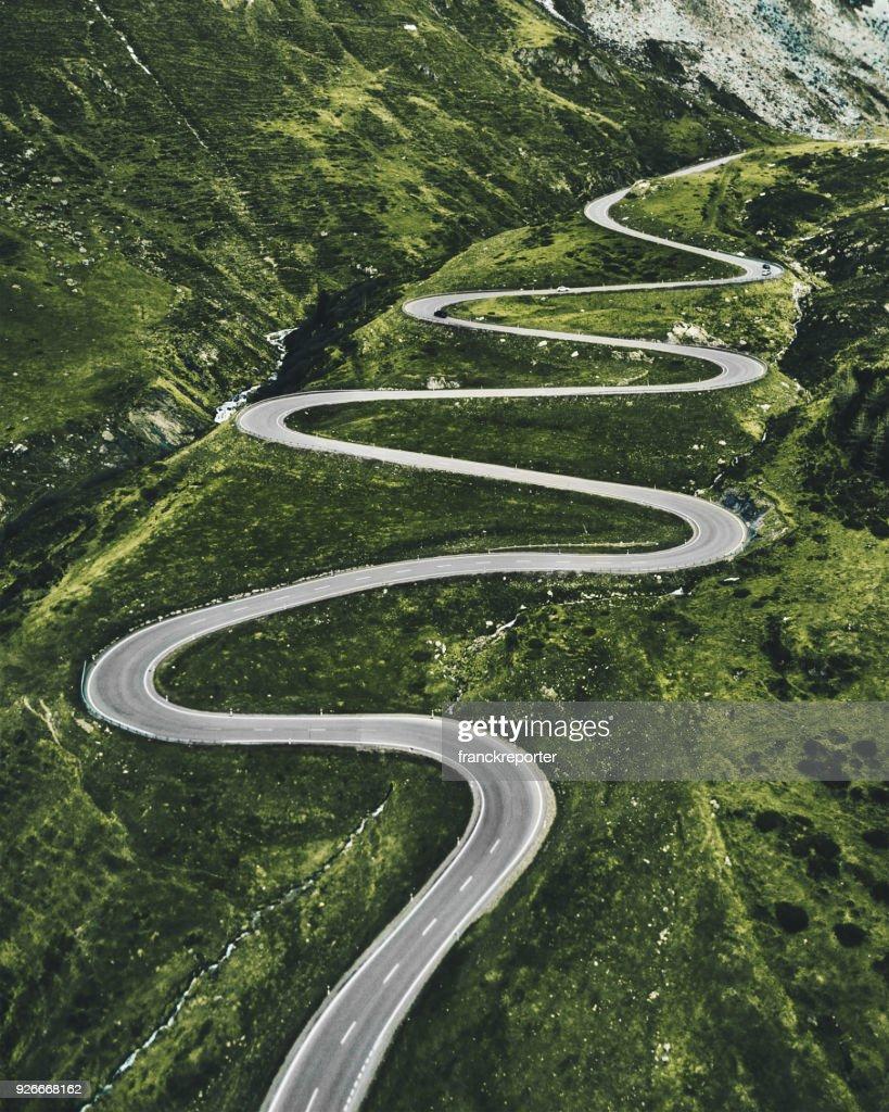 julier pass road in switzerland : Stock Photo