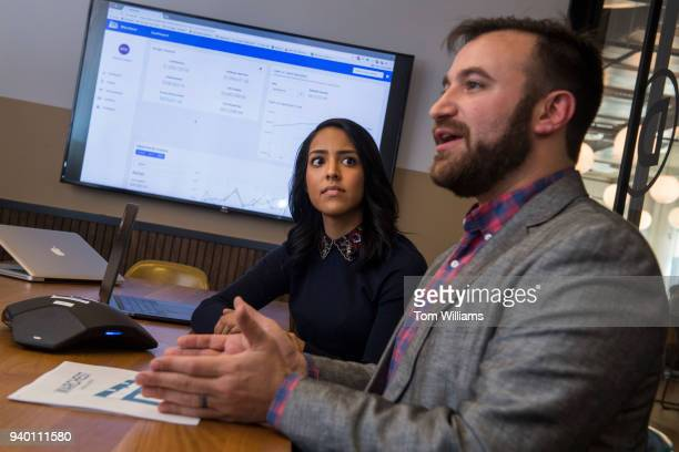 Juliet Albin and Josh Wolf are interviewed about their campaign budgeting software Warchest at the WeWork in Navy Yard on March 29 2018
