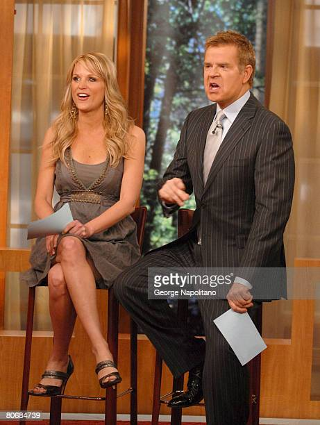 Juliet Huddy and Mike Jerrick on the set of the The Morning Show With Mike Juliet on April 15 2008 in New York City