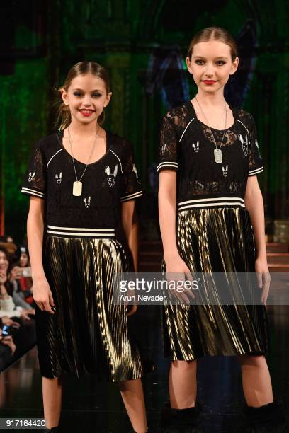 Juliet Jane and Alexandra Lenarchyk walk the runway during the MisterTripleX presentation during New York Fashion Week Powered by Art Hearts Fashion...