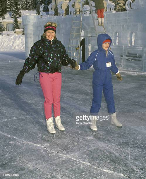 Juliet Mills and guest during Chateau Lake Louise Centennial Celebrity Sports Invitational at Chateau Lake Louise in Lake Louise Alberta Canada