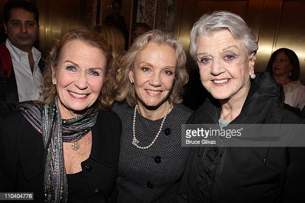 Juliet Mills Hayley Mills and Angela Lansbury pose at the opening night of Arcadia on Broadway at the Ethel Barrymore Theatre on March 17 2011 in New...