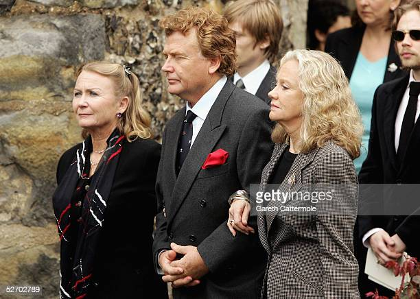 Juliet Mills Jonathan Mills and Hayley Mills attend the funeral service held for their father Sir John Mills on April 27 2005 in Denham...