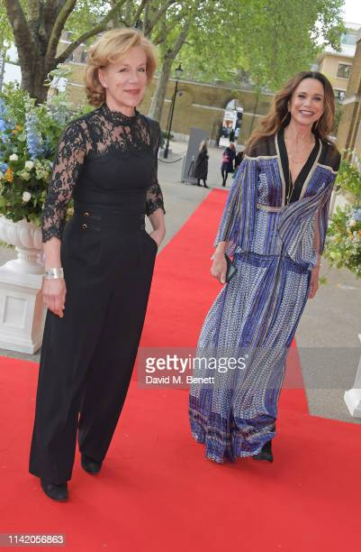 Juliet Stevenson and Lena Olin attend the Premiere Screening for the new season of Sky Original Riviera at The Saatchi Gallery on May 7 2019 in...