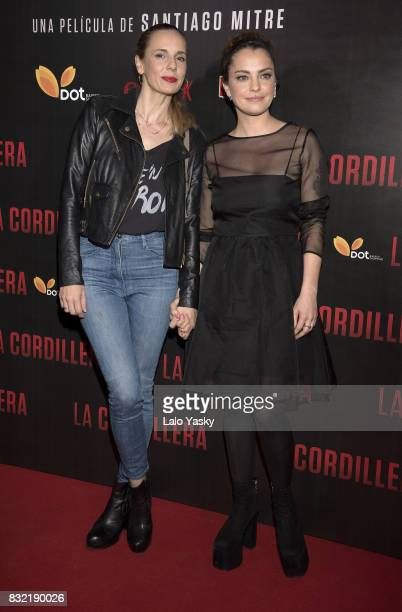 Julieta Cardinali and Dolores Fonzi attend the premiere of 'La Cordillera' at the Hoyts Shopping Dot cinema on August 15 2017 in Buenos Aires...