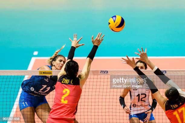 Julieta Constanza Lazcano of Argentina attacks during the FIVB Volleyball Nations League Hong Kong match between China and Argentina on May 29 2018...