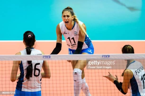 Julieta Constanza Lazcano of Argentina celebrates during the match between Argentina and Italy on May 30 2018 in Hong Kong Hong Kong