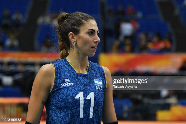 Julieta Constanza Lazcano of Argentina looks on during warmup ahead of the Group A match between Mexico and Argentina on day two of the FIVB Women's...