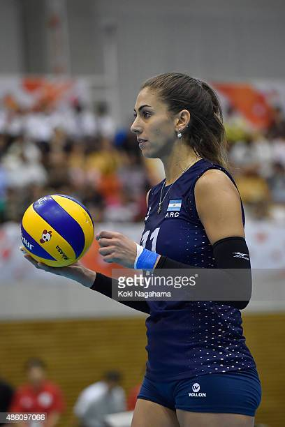 Julieta Constanza Lazcano of Argentina looks on in the match against USA during the FIVB Women's Volleyball World Cup Japan 2015 at Momotaro Arena on...