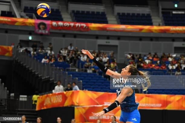 Julieta Constanza Lazcano of Argentina serves during the Group A match between Mexico and Argentina on day two of the FIVB Women's World Championship...