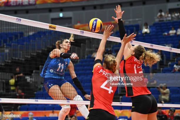 Julieta Constanza Lazcano of Argentina spikes during the Group A match between Germany and Argentina on day three o of the FIVB Women's World...
