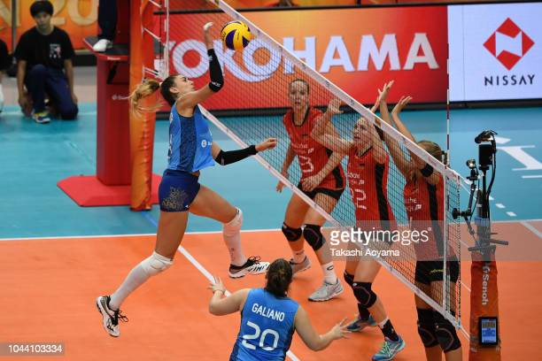 Julieta Constanza Lazcano of Argentina spikes during the Group A match between Germany and Argentina on day three of the FIVB Women's World...